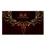Elegant Black Red & Gold 2 Vintage Lace Frame Business Cards