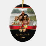 Elegant black red gold christmas holiday photo christmas ornament