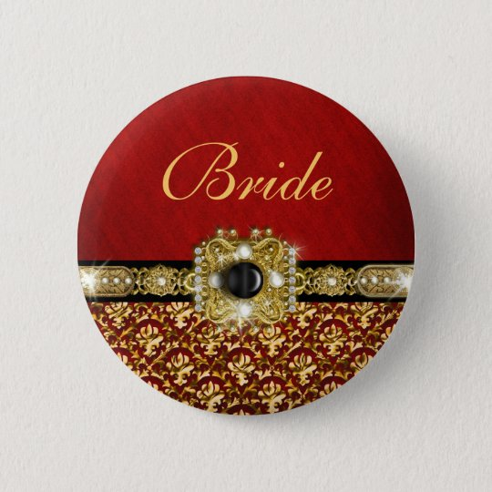 "Elegant black red gold ""damask wedding"" button"