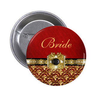 "Elegant black red gold ""damask wedding"" button"
