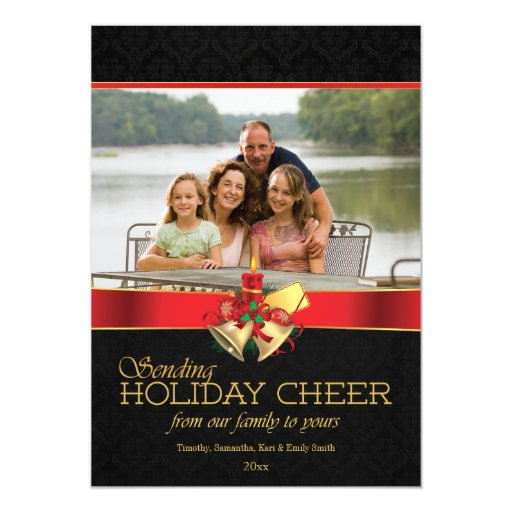 Elegant black red gold holiday cheer photo card