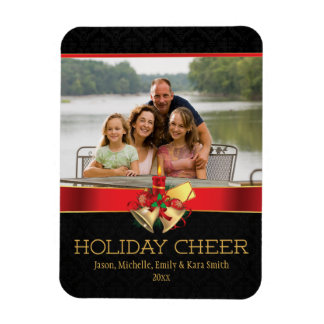 Elegant black red gold holiday cheer photo magnet