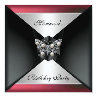 Elegant Black Red pink Pearl Jewel Birthday Silver Invitation