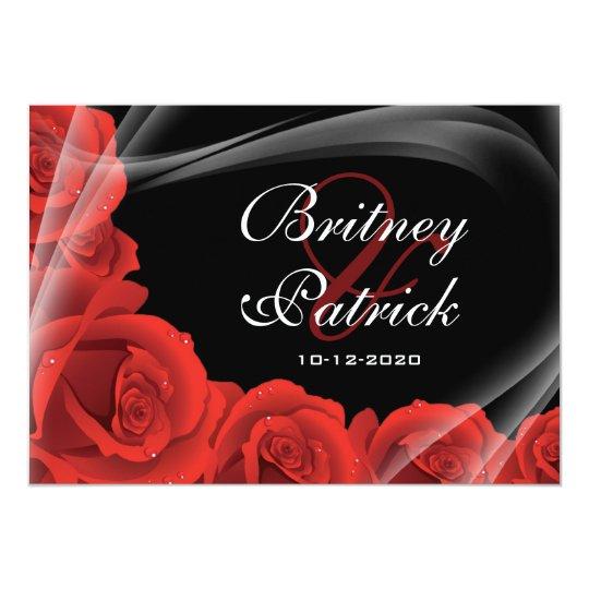 Elegant Black & Red Rose Wedding Invitations