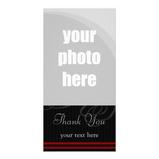 "Elegant Black/Red ""Thank You"" Card"