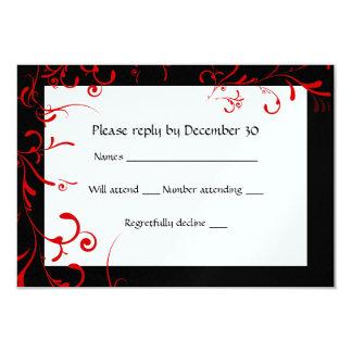 Elegant Black, Red, White RSVP Card