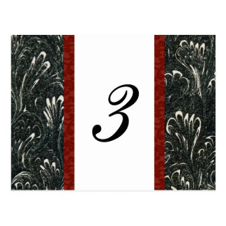 Elegant Black, Red, White Table Number Card
