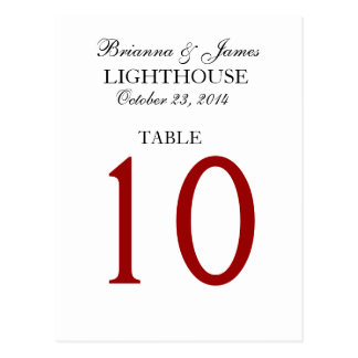Elegant Black Red White Wedding Table Number Card