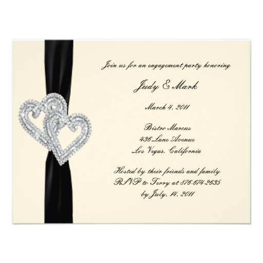 Personalized Black And White Engagement Party Invitations