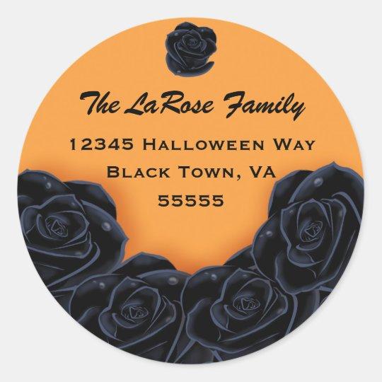 Elegant Black Roses Classic Round Sticker