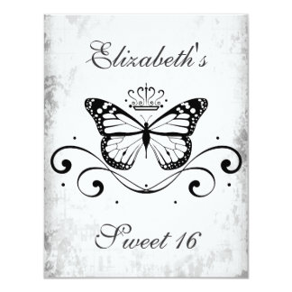 Elegant black Royal Butterfly sweet 16 4.25x5.5 Paper Invitation Card