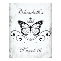 Elegant black Royal Butterfly sweet 16 Card