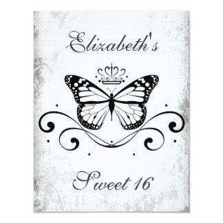 Elegant black Royal Butterfly sweet 16 Card