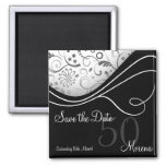 Elegant Black Save the Date Magnet
