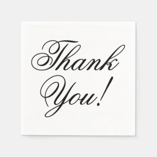 Elegant Black Script Thank You for Wedding Paper Napkin