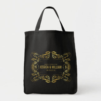 Elegant Black Shiny Gold Floral Frame Tote Bag