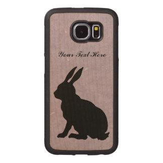 Elegant Black Silhouette Sitting Rabbit Big Ears Wood Phone Case