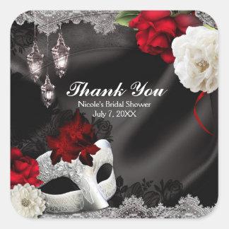 Elegant Black Silk Floral & Lace Masquerade Party Square Sticker