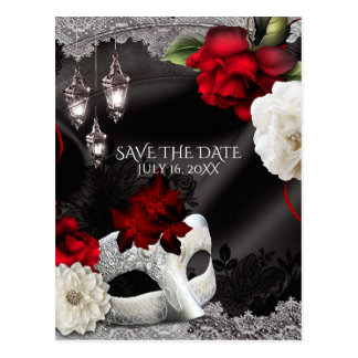 Elegant Black Silk Floral Masquerade Save the Date Postcard