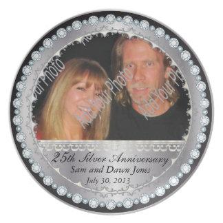 Elegant Black & Silver 25th Silver Anniversary Melamine Plate