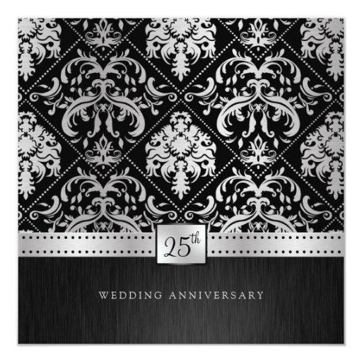 Elegant Black & Silver 25th Wedding Anniversary Card Zazzle