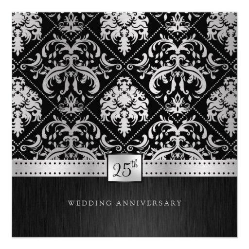 Elegant Black & Silver 25th Wedding Anniversary Announcements