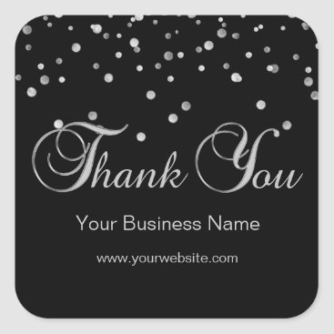 Professional Business Elegant Black Silver Business Thank You Labels