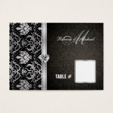 Elegant Black / Silver Damask Table Place Cards at Zazzle