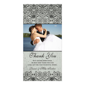 Elegant black silver damask wedding thank you card