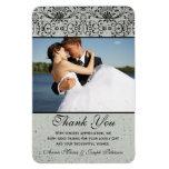Elegant black silver damask wedding thank you rectangular photo magnet