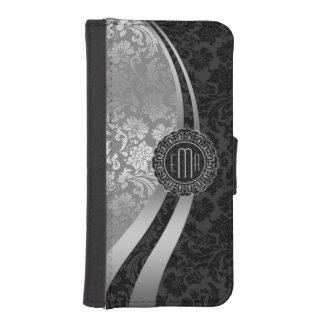 Elegant Black & Silver Damasks Dynamic Stripes iPhone SE/5/5s Wallet Case