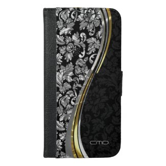 Elegant Black & Silver Damasks Gold Accents