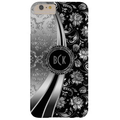 Elegant Black & Silver Floral Damask Barely There iPhone 6 Plus Case