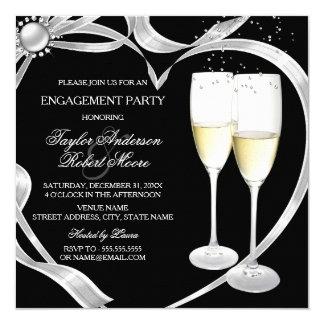Elegant Black Silver & Gold Engagement Party Card