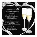 Elegant Black Silver & Gold Engagement Party Custom Invitation Cards