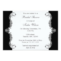 Elegant black silver gray Bridal Shower Invites