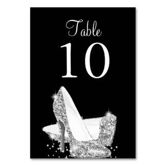 Elegant Black Silver Heels Table Number Card