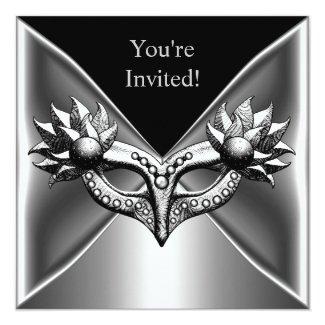 Elegant Black Silver Metal Mask Event Party 2 Invitation