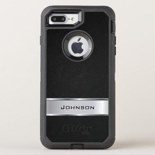 Elegant Black Silver Metallic Look Name Phone Case