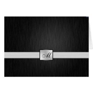 Elegant Black Silver Monogram Thank You Card