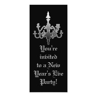 Elegant Black & Silver New Year's Eve Invitations