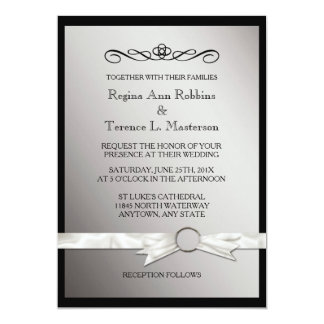 Elegant Black Silver Ribbon Wedding Card