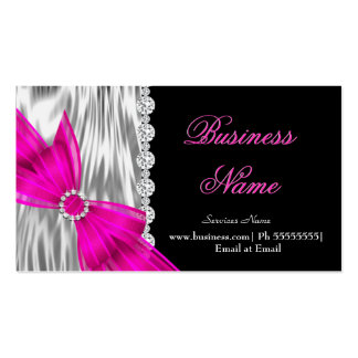 Elegant Black Silver Silk Hot Pink Bow Double-Sided Standard Business Cards (Pack Of 100)