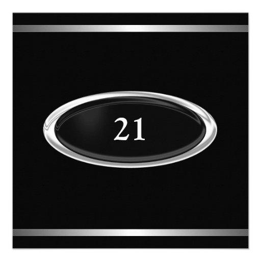 Elegant Black Silver Stripe 21st Birthday Male Personalized Invitation