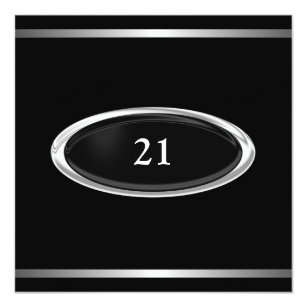 Elegant Black Silver Stripe 21st Birthday Male Invitation