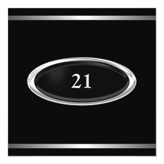Elegant Black Silver Stripe 21st Birthday Male 5.25x5.25 Square Paper Invitation Card