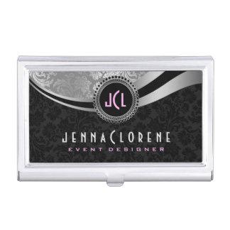 Elegant Black & Silver Vintage Floral Damasks 2 Business Card Holder