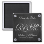 Elegant Black / Silver with Diaminds Save the Date Magnet