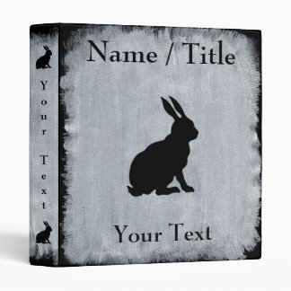 Elegant Black Sitting Rabbit on White Paint Look 3 Ring Binder
