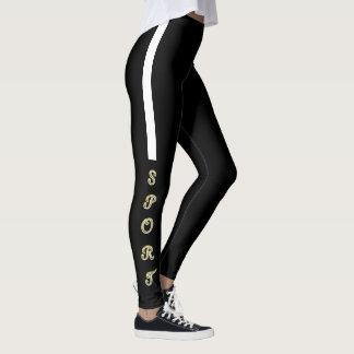 Elegant black sport put-went leggings